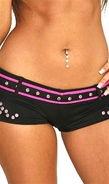 Black and pink booty shorts for pole dancing