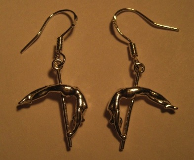 Sterling silver pole dancer fish hookearring set