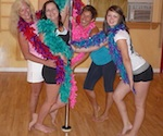 group of women enjoying a pole dancing party