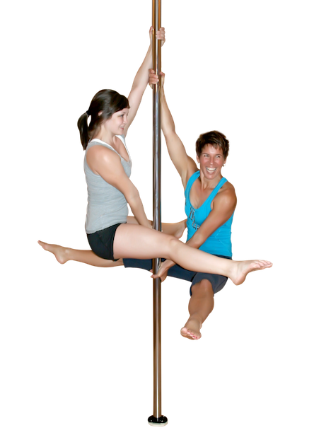 Pole dancers demonstrating a split grip hold