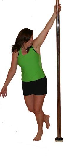 Pole dancer warming up