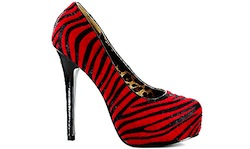 Red zebra striped shoe