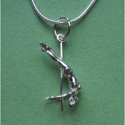 silver pole dancer necklace
